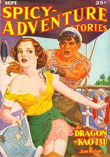 "Spicy-Adventure Stories (September 1936) featuring ""The Dragon of Kao Tse"" by Sam Walser (a.k.a. Robert E. Howard)."