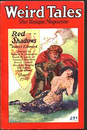 "Weird Tales (August 1928) featuring ""Red Shadows,"" the first Solomon Kane story"