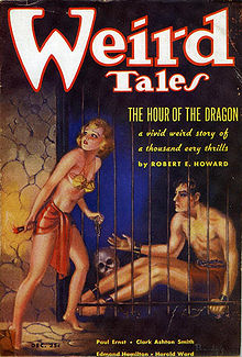 Weird Tales (December 1935) featuring the first installment of the novel The Hour of the Dragon.