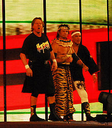 Piper with Ricky Steamboat and Jimmy Snuka before their match with Chris Jericho at WrestleMania XXV in 2009.