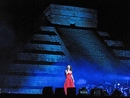 Brightman performing in the Concert of the Pyramid in Chichen Itza, Mexico.