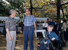 Hawking with string theorists David Gross and Edward Witten at the 2001 Strings Conference, TIFR, India