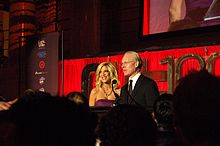 Tim Gunn and Spelling co-presenting at an event in November 2007.