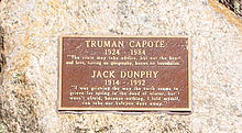 Truman Capote and Jack Dunphy stone at Crooked Pond in the Long Pond Greenbelt in Southampton (town), New York.
