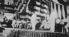 William Howard Taft addressing the audience at the Philippine Assembly in the Manila Grand Opera House.