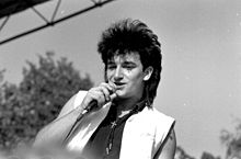 Bono on stage in 1983