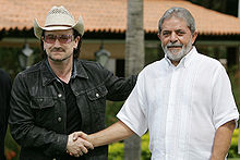 Bono with then President Lula da Silva of Brazil in 2006