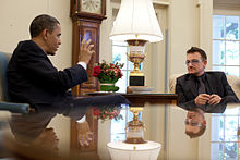 Bono meeting with U.S. President Barack Obama in 2010.