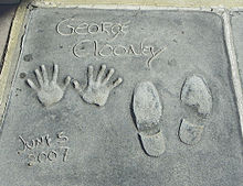 George Clooney cast his hands and shoes in the Grauman's Chinese Theatre in 2007.[29]