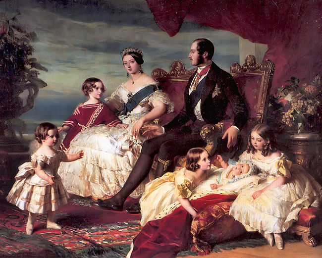Victoria's family in 1846 by Franz Xaver Winterhalter left to right: Prince Alfred and the Prince of Wales; the Queen and Prince Albert; Princesses Alice, Helena and Victoria