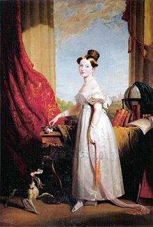 Victoria with her spaniel Dash, 1833 Painting by George Hayter