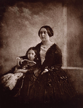 Earliest known photograph of Victoria, here with her eldest daughter, c. 1845[69]