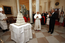 Pope Benedict XVI celebrates his 81st birthday with U.S. President George W. Bush and his wife, Laura. The White House, Washington D.C.