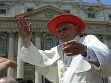 Pope Benedict XVI wearing Cappello Romano during an open-air Mass in 2007