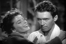 Stewart won his only Academy Award for Best Actor for 1940's The Philadelphia Story. He is seen here with co-star Katharine Hepburn