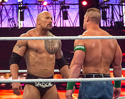 Cena and The Rock face off at WrestleMania XXVIII.