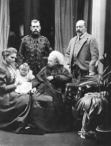 Edward (right) with his mother (centre) and Russian relations: Tsar Nicholas II (left), Empress Alexandra and baby Grand Duchess Olga Nikolaevna, 1896