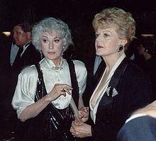 Arthur (left) at the 1989 Emmy Awards with close friend Angela Lansbury (right).