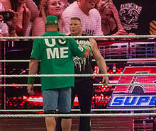Brock Lesnar faces off with John Cena after his return in April 2012.