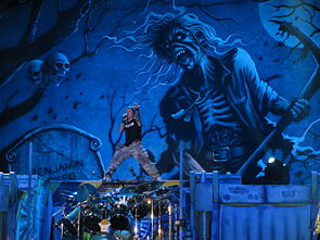 Performing on 6 July 2010 during The Final Frontier World Tour. The 2010 leg consisted primarily of material released since Dickinson's return to Iron Maiden in 1999.[59]