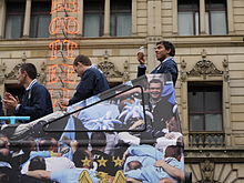 Tévez on the FA Cup victory parade in Manchester in May 2011