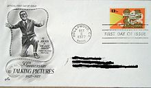 """50th Anniversary Year of Talking Pictures"" stamp on first-day-of-issue cover featuring Jolson"