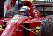 Prost practicing for his first event for Ferrari, the 1990 United States Grand Prix
