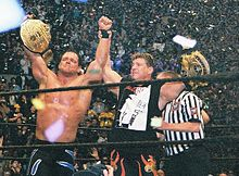 Benoit with close friend Eddie Guerrero, celebrating their respective World Championships at WrestleMania XX.