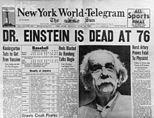 The New York World-Telegram announces Einstein's death on 18 April 1955.