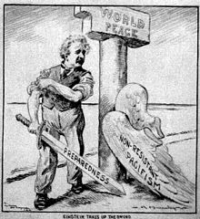 "Cartoon of Einstein, who has shed his ""Pacifism"" wings, standing next to a pillar labeled ""World Peace."" He is rolling up his sleeves and holding a sword labeled ""Preparedness"" (circa 1933)."