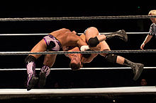 Rhodes performing the Cross Rhodes on Justin Gabriel.