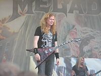 Dave Mustaine with his Dean VMNT USA Gears of War guitar, during the United Abominations tour