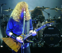 Dave Mustaine performing with Megadeth in Hartford, CT, with his Dean Zero.
