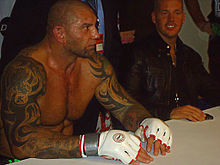 Dave Bautista after his first mixed martial arts win.