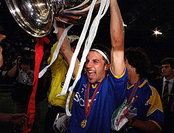 Del Piero celebrates the victory in the 1996 Champions League after defeating Ajax.