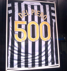 A commemorative shirt, celebrating Del Piero's 500th Juventus appearance.